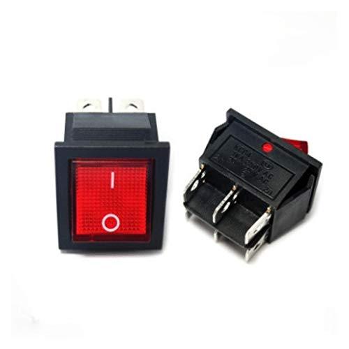 JSJJAYH Interruptor basculante Interruptor de Rocker On-Off 2 Posición 6 Pin con la lámpara 16A 250V 31x25mm Accesorios (Color : Red with Light, Size : 6 Pin 2 Speed)