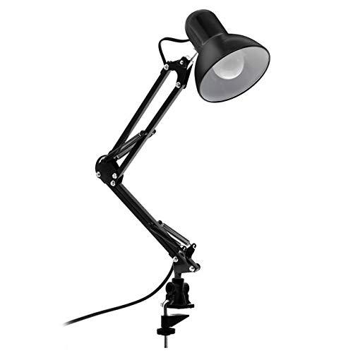feiren Lámpara de escritorio LED flexible para el hogar, la oficina, lámpara de mesa moderna de metal para arquitecto ajustable, luz de lectura plegable (color del cuerpo: negro, color: blanco)
