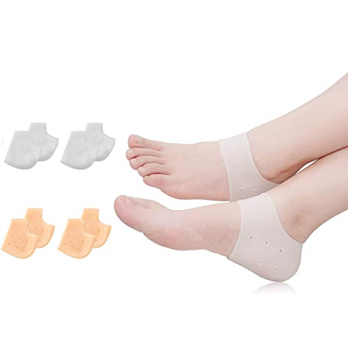 (8PCS) Silicone Heel Protectors,Heel Cups,Gel Heel Cushion,Plantar Fasciitis Inserts Pads& Heel Guards Great fot Heel Pain, Heal Dry Cracked Heels, Achilles Tendinitis.Heel Sore.