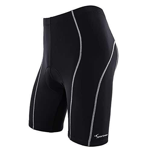 Sportneer Calzoncini Corti per Uomo per Biking Bicicletta Pantaloni 4D Coolmax, Comfort, Design Antiscivolo, Traspiranti e Assorbenti