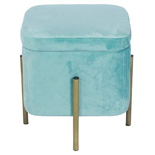 Cube Fußhocker, moderner trendiger Stil, quadratischer Hocker, dekorative goldene Beine, multifunktionaler Hocker Sitz mit abnehmbarem Deckel für Schlafzimmer, Schminktisch, 11,7 x 37,1 cm (Cyan)