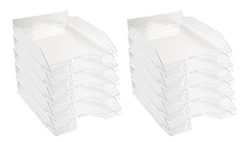 Exacompta - Réf. 12323D - lot de 10 corbeilles à courrier ECOTRAY - dimensions 34,5 x25,5 x 6,5 cm - pour documents au format A4+ - couleur cristal