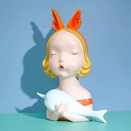 KUELXV Muebles para el hogar KUELXVhome[MGT] Nordic Creative Angel Girl Statue Decoration Modern Home Decoration Fairy Tale Kingdom Girl Heart Gift,C