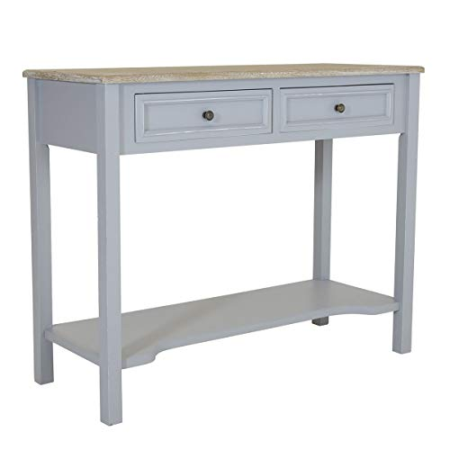 Charles Bentley Console Table in Grey Loxley Wooden Storage Hallway with Two Drawers Contemporary Style