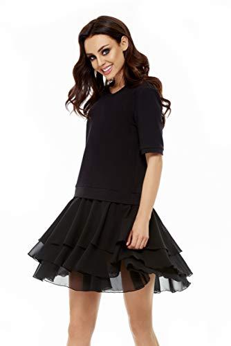 Lemoniade Elegantes Damen Kleid (Made in EU) in kurz mit Kurzarm ideal als Abendkleid, Partykleid oder Freizeitkleid, Modell 2 Schwarz, S (36)