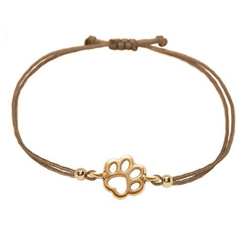Selfmade Jewelry - Pulsera de oro rosa y marrón con diseño de huellas (hecha a mano, tamaño...