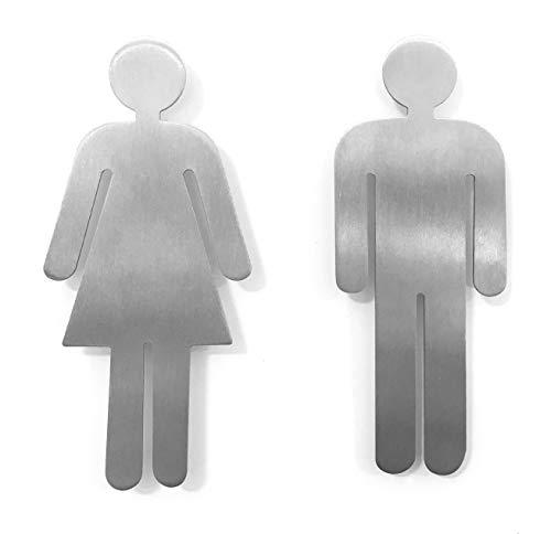YdoG Toilettenschild, WC- Schild - 2er Set Damen und Herren - Höhe 11cm – Rostfreier Edelstahl gebürstet mit Selbstklebefolie für Bad, Hotel, Schul- und Restaurants