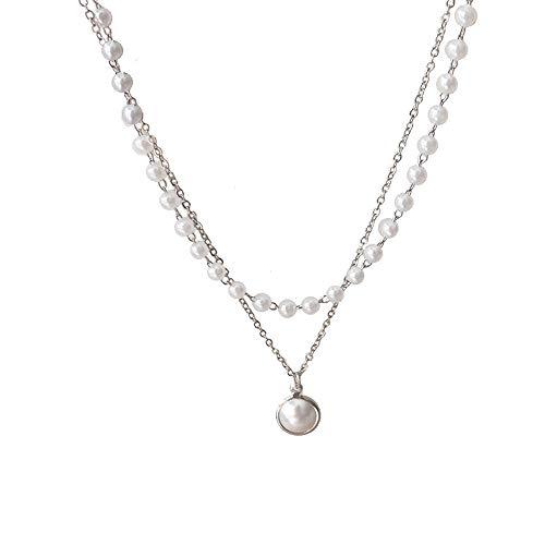 Nueva moda Kpop perla gargantilla collar lindo doble capa cadena colgante para mujeres joyería chica regalo