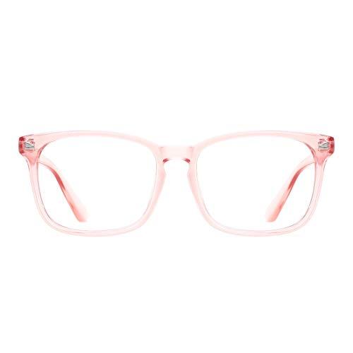 TIJN Blue Light Blocking Glasses Square Nerd Eyeglasses Frame Anti Blue Ray Computer Game Glasses (Pink)
