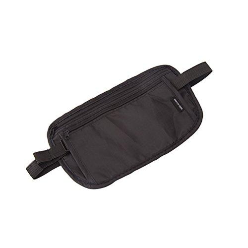 Sac banane à argent Winomo ceinture tour de taille ultra fine réglable pour portefeuille ceinture de voyage ou de course à pied sac pour téléphone portable vacances marche sports gym (noir)
