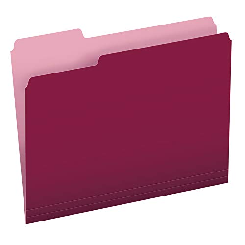 Pendaflex Two-Tone Color File Folders, Letter Size, 1/3 Cut, Burgundy, 100 Per box (152 1/3 BUR)