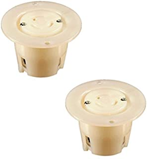NEMA L5-15 Locking Flanged Outlet, 15A 125V AC, 2 Pole 3 Wire, cUL Listed (2 Pack)