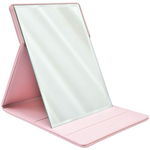 MODESSE Premium Portable Makeup Mirror (Pink) | Perfect for Travel, Home Vanity, Office Desk | Large Size, Folding Design with Stand for Tabletop, Vegan Leather | Beauty Gifts for Bridesmaids