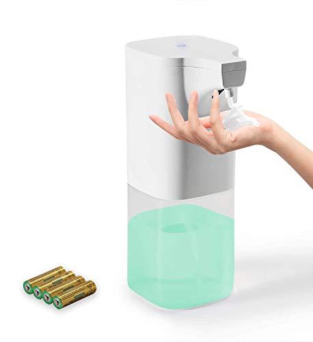 Auxmir Seifenspender Automatisch 350ml, Schaumspender No-Touch mit Infrarot Sensor, Elektrischer Berührungsloser Schaumseifenspender Schäumend für Bad Küchen Büro Hotel, Weiß