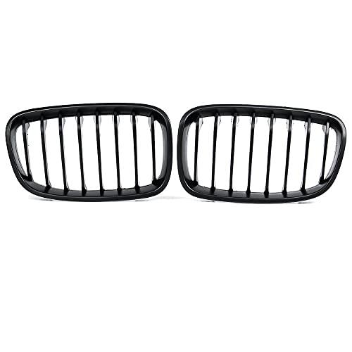 ZHJNB Tela de riñón para Parachoques, 1 par del Frente de Coche para BMW F20 F21 LCI 5D 1-Series 3D 120i 2015-2017 Racing Grille Negro Brillante 1 Llantas,3matte Black 1 Slat
