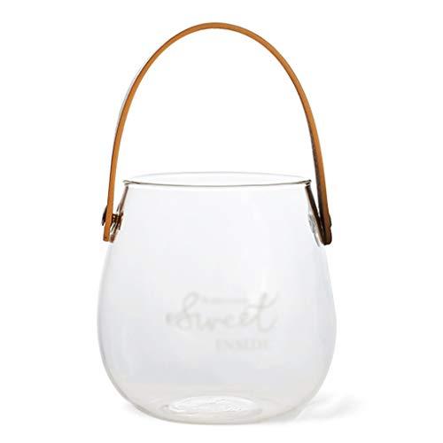 Vase Créatif Décoration Pot De Stockage Transparent Poignée en Cuir en Verre Pot De Fleurs (Color : Blanc, Size : 15 * 10 * 10)
