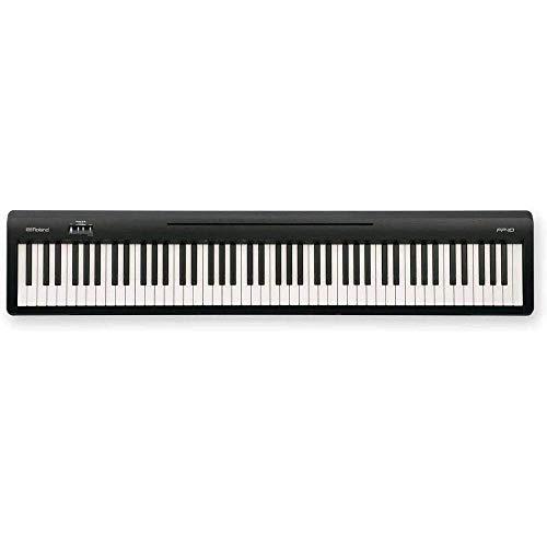 Roland FP-10 Piano digital de nivel básico de 88 teclas, negro (FP-10-BK) incluye auriculares inalámbricos gratuitos, estéreo Bluetooth en la oreja y 1 año de garantía ampliada de música