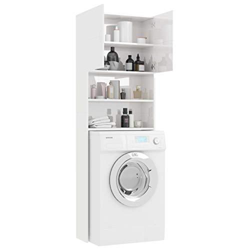 Nishore Waschmaschinenschrank Hochglanz-Weiß Spanplatte Hochschrank | Badhochschrank Schrank | Badschrank Mit 2 Türen und 2 offenen Fächern 64 x 25,5 x 190 cm (B x T x H)