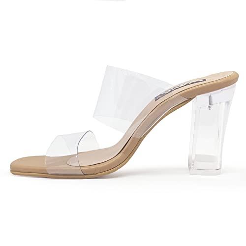 WFS Women 3.5 Inch Transparent (Clear) Block Heel Sandals Beige