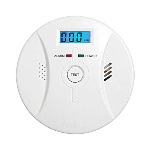 Odoukey Co Alarm Rauchmelder Kohlenmonoxid-Alarm mit LCD-Display Sprachbenachrichtigung für Heim Feuer Gas Leaks