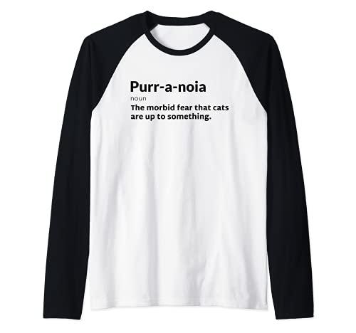 Purr-a-noia Purranoia Gato Pun Juego de Terror Halloween Camiseta Manga Raglan