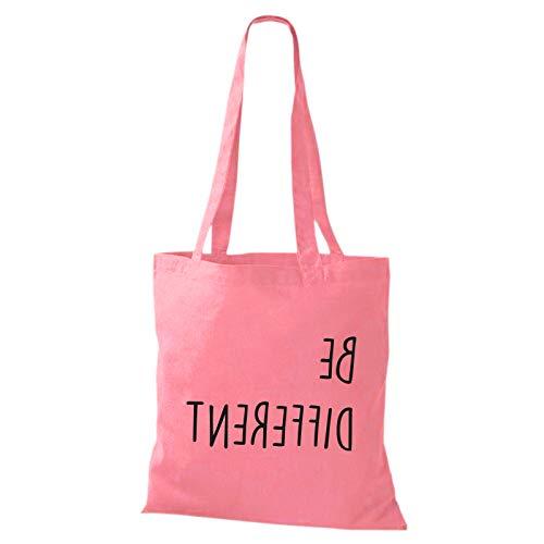 Shirtastic Baumwolltasche Jutebeutel BE Different Fun Spruch Spaß Sei du selbst individuell Anders Stoffbeutel, Größe:38 x 42cm, Farbe:rosa/schwarz