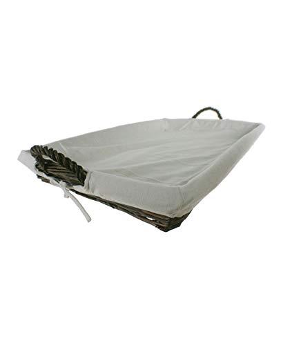 CAL FUSTER - Bandeja para la Ropa de Planchado en Mimbre Color Nogal y Forrada en Tela Desmontable. Medidas: 63x43 cm.