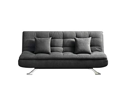 Elephant Full Tufted Back Convertible Sofa, Elephant Grey Color. The Updated Version has Softer Cushions, More Comfortable Fabrics. Simple and Young Design is Perfectly for Apartment and Small Spaces