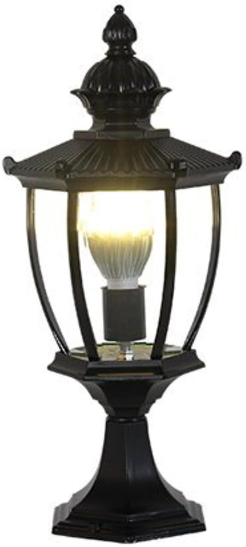 Xiao Fan   Europische Auflistung E27 LED Gartenlandschaft wasserdichte Sule Kopflampe Outdoor Tischlampe Rasen Garten Gartenleuchten Straenbeleuchtung (Farbe  Schwarz)