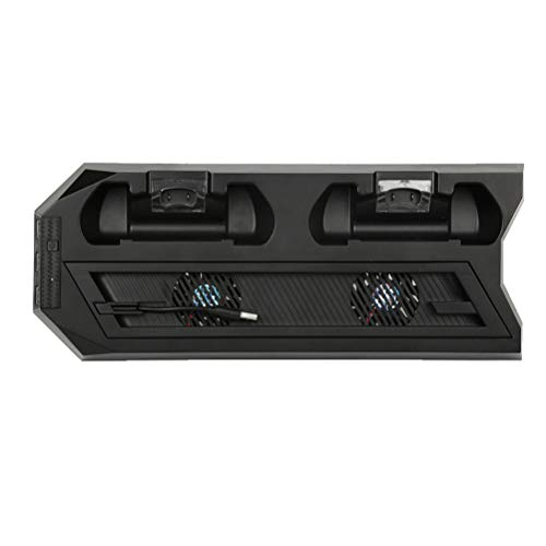 Suporte vertical Uonlytech com ventilador de refrigeração para PS4 Controladores estação de carregamento com duas portas de carregador e hub USB para PlayStation 4 Slim/PRO (Preto)