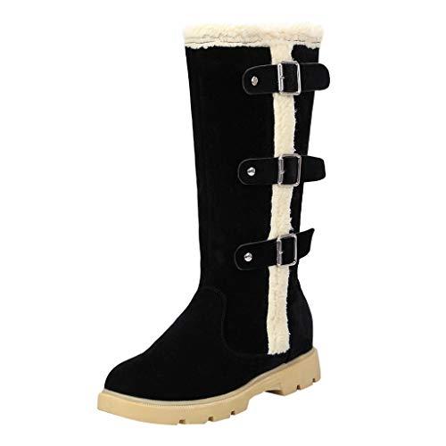 HDUFGJ Damen Winter Stiefel Schneeschuhe Seitlicher Reißverschluss Mittlere Stiefel Plus Samt warme wasserfeste Boots kurz Stiefeletten Chelsea Boots Outdoor-Schuhe Profilsohle46(Schwarz)