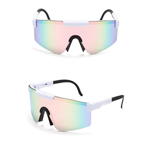 Mantimes Big Frame Cycling Sunglasses Colorful Full Plating Real Film Sports UV Protection Glasses with Durable Frame (White-pink)