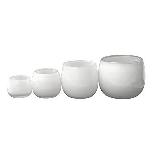 Glasvase / Übertopf Dutz POT md1 H14 D16 white / weiß Glas Vase Glas übertopf handgefertigt