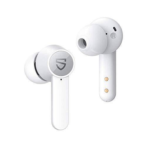 SOUNDPEATS Q Bluetooth 5.0 kabellos Kopfhörer In Ear Kopfhörer True Wireless Sport Ohrhörer zum kabellosen Laden mit 4-mic 10mm Treiber Touch Control Lautstärke+ Telefonkonferenzen USB-C-Ladung Weiß