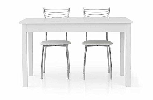 InHouse srls Table Extensible Blanc Pore Ouvert avec 1 rallonge da 60 cm, Style Moderne, en MDF laminé et Structure en Acier - Dim. 140 x 90 x 75