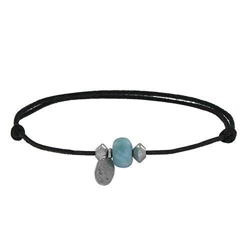 Schmuck Les Poulettes - Armband Schwarz Link EIN Larimar Ring und Zwei Ikonische Silber Perlen
