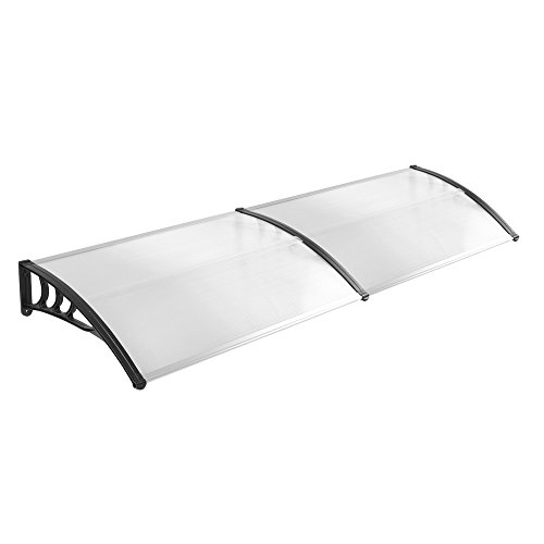 LZQ 200 x 100cm Vordach Türdach Pultbogenvordach Überdachung Polycarbonat Transparentes weiß Haustür Überdachung Haustürvordach Pultvordach - diverse Größen- diverse Farbe (200 x 100cm, Schwarz)