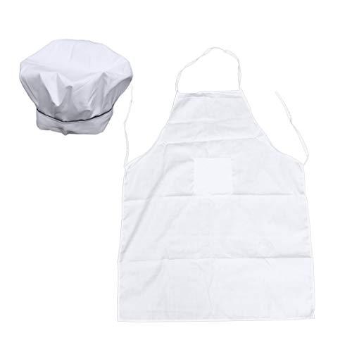 BESTONZON Kochschürze und Kochmütze Set - Küchenschürze Erwachsene weiße Schürze mit Metzger Hut Bäcker Kostüm Küchentasche Schürze für Männer und Frauen