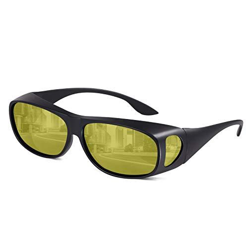 Überzieh Nachtsichtbrille zum Autofahren für Brillenträger- Polarisierte Überziehbrille Nachtfahrbrille Blendschutz- Hilft bei blendendem Gegenverkehr, Augenbelastung reduzieren