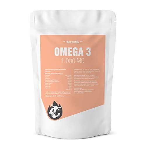 Omega 3 Fischöl Kapseln (1000mg - 500 Softgel-Kapseln - 18% EPA / 12% DHA )- Hochseefisch - Gesunde Fettsäuren von Bull-Attack