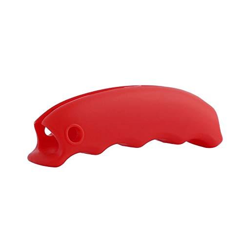 Color Yun Bolso de Compras de Silicona Portador de canastas Mango para comestibles Agarre cómodo (Rojo)