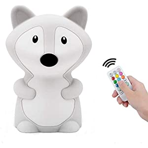 Night Light for Kids Toddler Cute Fox Night Light Animal Night Lamp for Bedroom Nursery Baby Silicone Nightlight with Remote Control Colors Changing for Teen Girls Boys Birthday Children's Day Gift