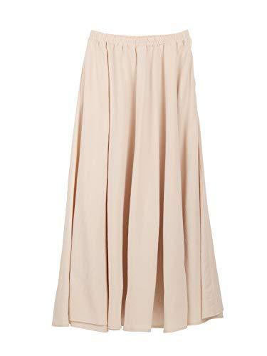 Damen Mädchen Leinen Baumwolle Maxirock Tellerrock Langer Rock mit Seitentaschen Elastischer Bund Retro Vintage Einfach Schick Rocklänge 90cm - Einfarbig Beige