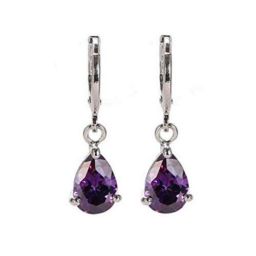 Odoukey 1 par de Mujeres Pendientes de Acero Inoxidable Brillante de Lujo del Perno Prisionero para Las niñas el día de Tarjeta púrpura del Regalo