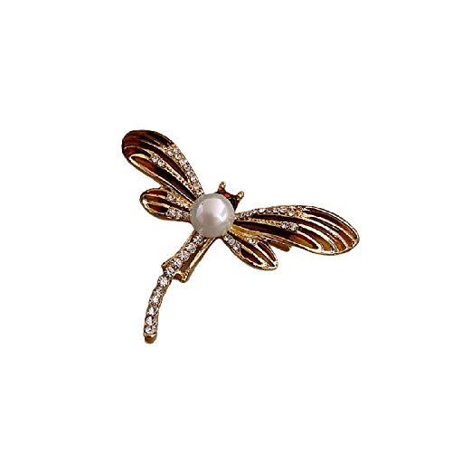 wangk Creativo libélula imitación Perla Shinning Cristal Broche para Las Mujeres Elegante Aniversario Regalos joyería Vintage
