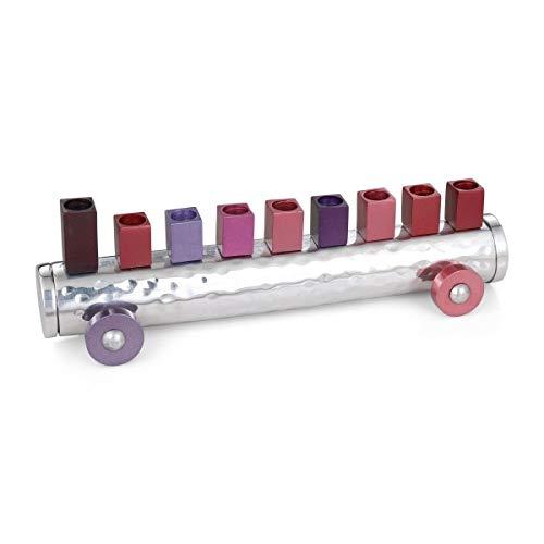 Yair Emanuel Children's Train Hanukkah Menorah | Hammered Anodized Aluminum & Nickel | HNA-3 (Shades of Red)