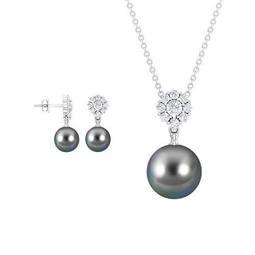 Juego de colgante y aretes de diamantes de 17,47 quilates, colgante de gota de perlas de Tahití, pendientes de perla para mujer, aretes de racimo de diamantes, 14K Oro blanco, perla tahitiana-10