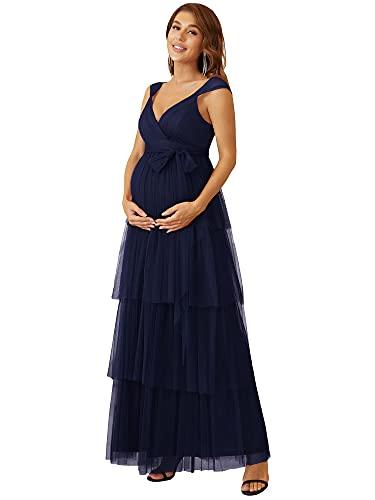 Ever-Pretty Robe Maternité Grossesse Longue Femme Col en V à Volants Robes de Soirée Enceinte Shooting Photo en Tulle Bleu Marine 48
