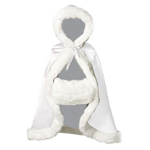 BEAUTELICATE Flower Girl Cape Winter Wedding Cloak for Infant Junior Bridesmaid Hooded Reversible White 44