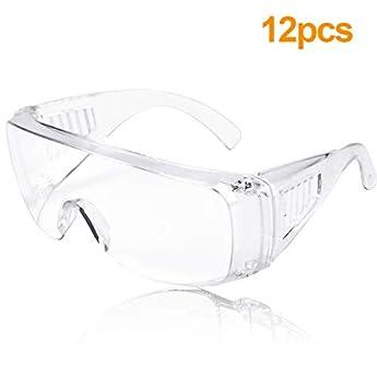 Foto di Occhiali Protettivi 12 Pezzi Occhialini Protettivi,Occhiali Sicurezza Occhiali Trasparenti di Protezione Per Uomo E Donna Occhiali con Lente Trasparente da Lavoro Laboratorio Chimica